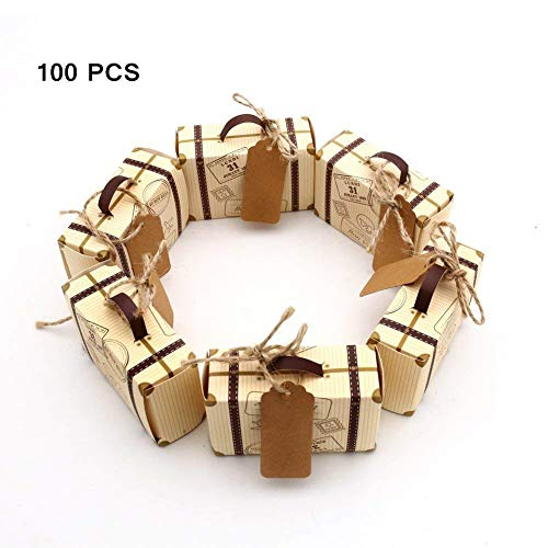 ALIWO 100pcs Mini Suitcase Favor Box Party Favor Candy Box, Vintage Kraft Paper with Tags and Burlap Twine for Wedding/Travel Themed Party/Bridal Shower Decoration