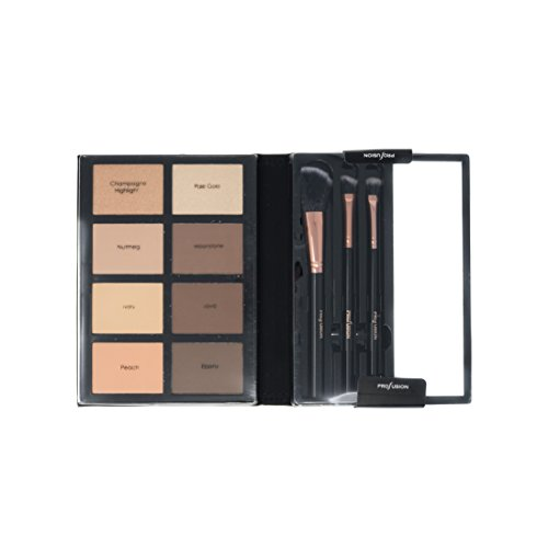 Profusion Cosmetics - Contour - Professional 8 Color Palette - Face Powder Highlighter Bronzer Makeup Kit Brushes Included - Champagne Highlight Nutmeg Ivory Peach Pale Gala Moonstone Java Ebony by Profusion Cosmetics (Image #2)