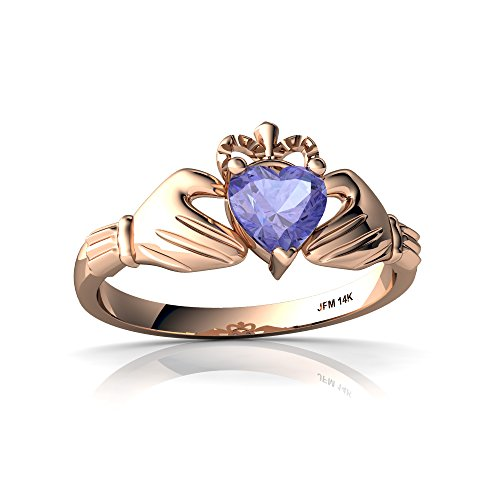 14kt Rose Gold Tanzanite 5mm Heart Claddagh Ring - Size 7