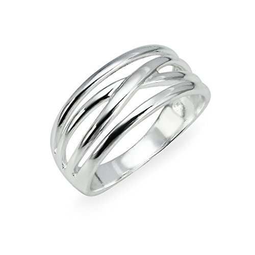 Sterling Silver Multi Bands Ring For Women Size 9 by Silverline Jewelry