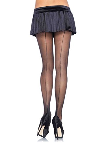 Cuban Foot Pantyhose - by Leg Avenue (Nude w/Black Backseam. One Size (90-160 - Black W Nude