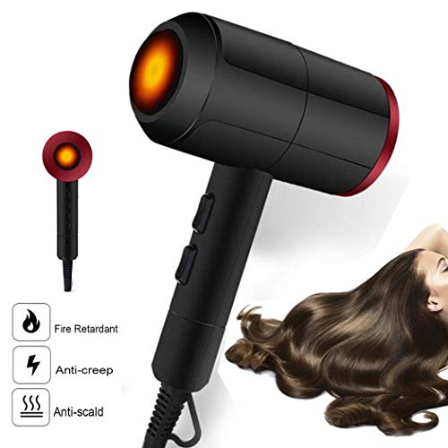 (ThinIce Salon Grade Professional Hair Dryer, 2000W AC Motor Negative Ionic Blow Dryer with 2 Speed and 3 Heat Settings, Portable Blowdryers with Hanging Ring,1.8 Meter Cable, Black)
