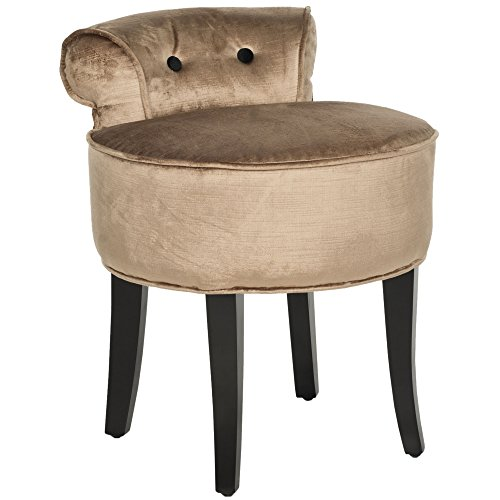 Velvet Button Stool (Safavieh Mercer Collection Georgia Vanity Stool, Mink Brown)