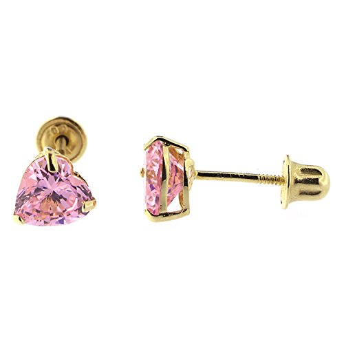 14k-Yellow-or-White-Gold-Heart-shape-Pink-Cubic-Zirconia-CZ-Stud-Earrings-with-Baby-Safe-Screwbacks