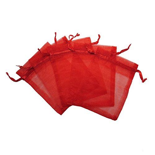 Red Organza Gift Bags - RakrisaSupplies 100Pcs Red Organza Bags 4x6