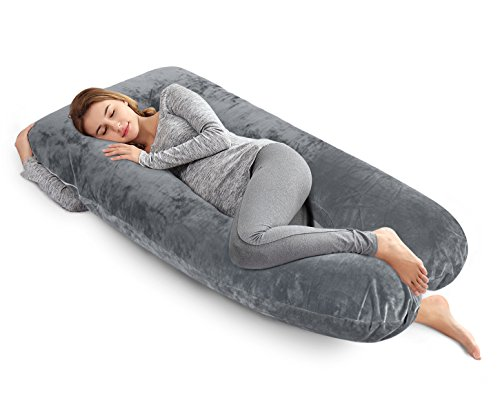 Ang Qi 60 inch Full Body Pregnancy Pillow, U Shaped Maternity Pillow with Easy on-off Velour Cover, Gray