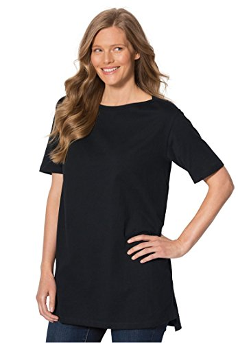 Women's Plus Size Perfect Boat Neck Tunic With Elbow Sleeves Black,L