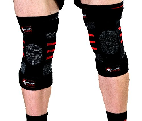 Large non neopreme kneel sleeves for men with paded knee wrap straps for powerlifitng protects against knee extension wirkout mans knee sleeves for relieving pain with legs stabalizer pressure padding