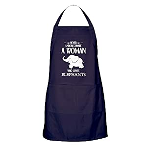 CafePress - Never Underestimate A Woman Who Loves Elephant - Kitchen Apron with Pockets, Grilling Apron, Baking Apron