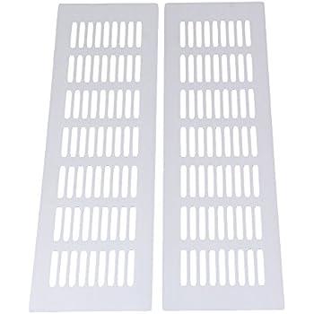 Bqlzr 80x300mm silver aluminium air vent louvred grill cover ventilation grille pack of 2 - Grille ventilation aluminium ...