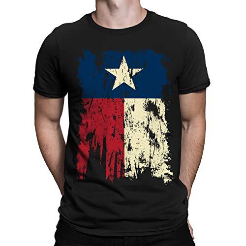 SpiritForged Apparel Vintage Distressed Texas Flag Men's T-Shirt, Black Large
