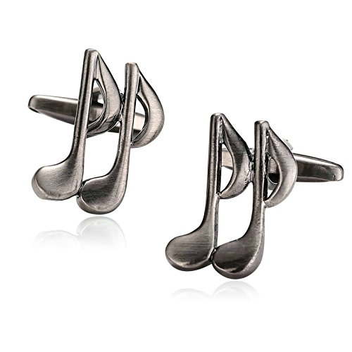 Beydodo Cuff Links Wedding Cufflinks Stainless Steel Light Black Music Double Note Cord by Beydodo