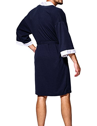 1393404181 Earlish Men s Kimono Robe Soft 100 Cotton Knit Waffle Weave Knee Length Spa  Robe