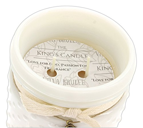 Classic City Gift 14 Ounce Soy Candle in Vintage Hobnail White Milk Glass Jar (Vanilla Brûlée) ()