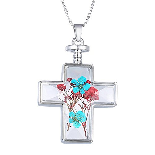 bestwishes2u Jewelry Plant Specimens Dried Flowers Wishing Bottle Cross Golden Pendant Necklace (Red -