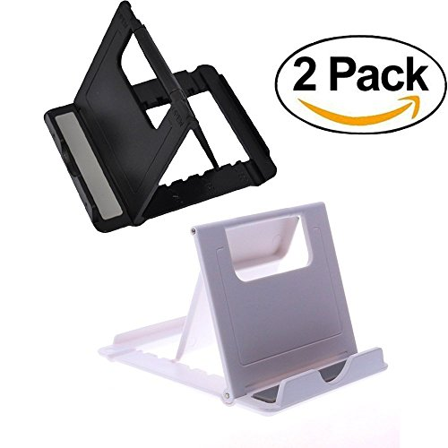 Mr ZHU 2 pack universal portable adjustable desktop phone stand for smart phone Holder for iPhone for ipad for samsung and so on black and white