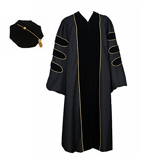 GraduationService Unisex Deluxe Doctoral Graduation Gown with Gold Piping and Doctoral 8-Side Velvet Tam Package - Doctoral Cap Gown