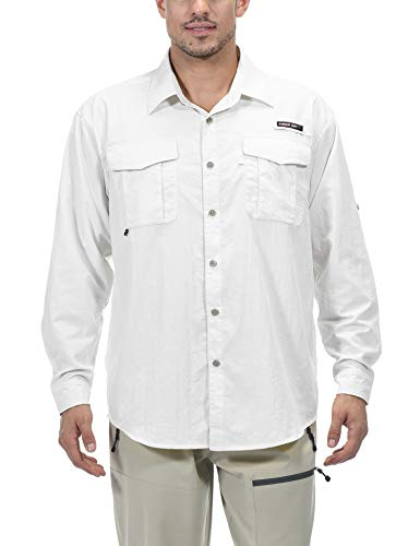 Little Donkey Andy Men's UPF 50+ UV Protection Shirt, Long Sleeve Fishing Shirt, Breathable and Fast Dry White XXL