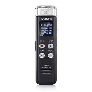 Voice Recorder Evistr 8GB Digital Audio Sound Recorder Dictaphone, Voice Activated Recorder with MP3 Player,Auto Saving File Every 5 Seconds