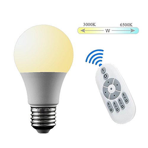 MADKING 6W Smart LED Dimmable Bulb E26/ E27 Tunable Between Warm White and Daylight (3000K-6500K) with Remote Controller