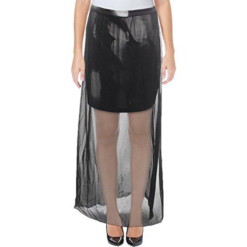 Tahari Skirt A-line (T Tahari Womens Jarinda Sheer Contrast Trim A-Line Skirt Black 6)