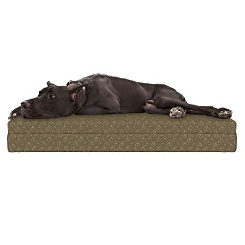 """Lunarable Damask Dog Bed, Nature Beauty Influences on Medieval Floral Motif with Buds Herbs Image, Durable Washable Mat with Decorative Fabric Cover, 48"""" x 32"""" x 6"""", Pale Blue Cocoa Sepia"""