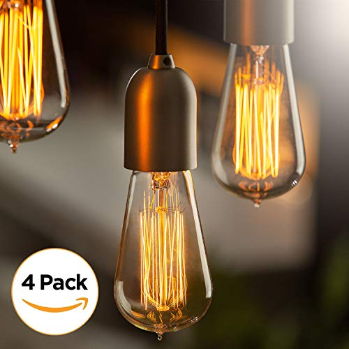 (Edison Light Bulbs by Scandic Gear - 4 Pack - 60 Watts - Vintage Light Bulbs Add Antique Touch to Décor - Retro Light Bulbs for Vintage Lamps and Fixtures - Clear Glass Edison Light Bulb)