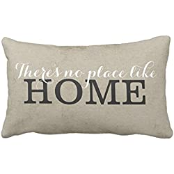 There's no place like Home Cotton & Polyester Soft Rectangle Zippered Pillow Case Cover -24x16 (one side) by Decors