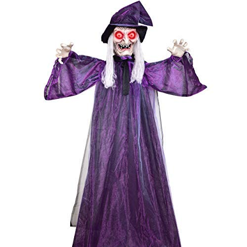 VIVREAL 72'' Life Size Halloween Witch Decorations, Hanging Talking, Glowing Red Eyes, Creepy Face&Posable Arms Outdoor Animated Haunted Props, Large, Purple