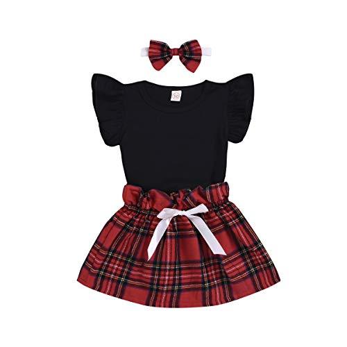 7ba3ed923 3PCS Toddler Infant Baby Girl Ruffle Plain T-Shirts Tops Shorts Plaid Tutu  Skirt with