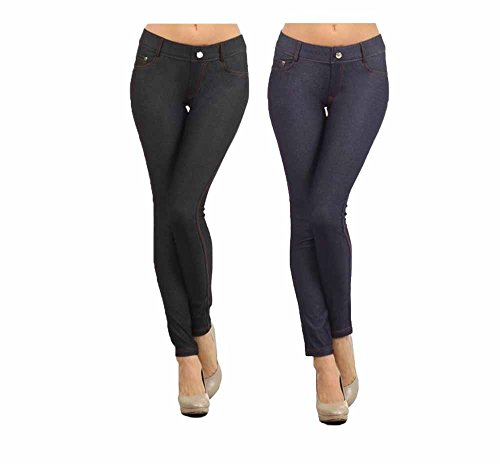 (Women's Plus & Regular Size Cotton Blend Stretchy 5 Pocket Jeggings, 2 Pack: Black/Navy, Medium / Large)