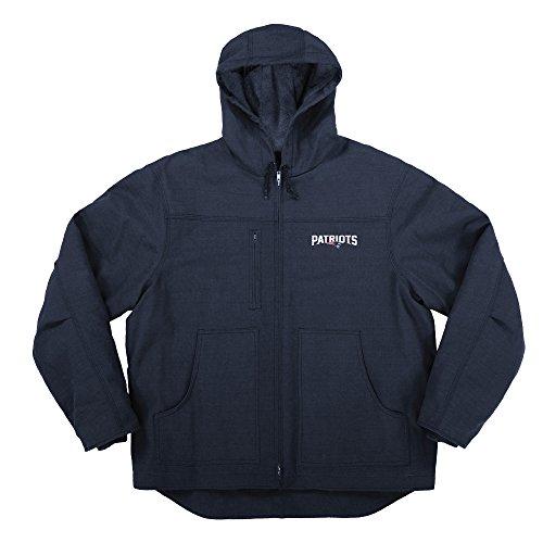 NFL New England Patriots Adult Trailblazer Canvas Fleeced Lined Hooded Jacket, X-Large, Navy - Nfl Canvas