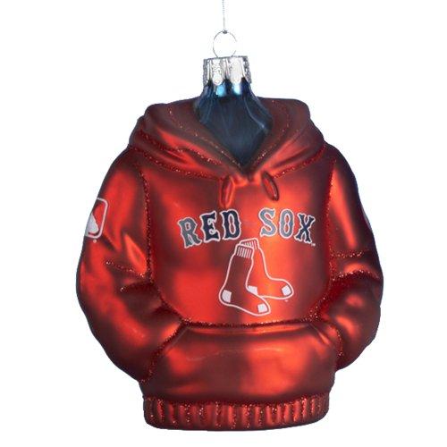 Kurt Adler 4-1/2-Inch Boston Red Sox Glass Hoodie Sweatshirt Ornament (Red Christmas Sox Ornament)