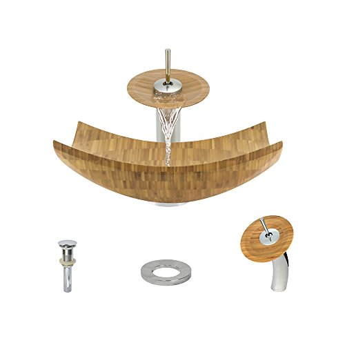 892 Bamboo Vessel Sink Chrome Bathroom Ensemble with Wate...