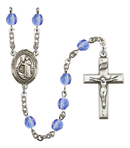 September Birth Month Prayer Bead Rosary with Saint Raymond of Penafort Centerpiece, 19 Inch
