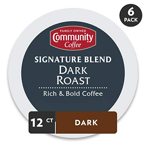 Community Coffee - Signature Blend Dark Roast Coffee - 72 Ct Single Serve (12 Count, Pack of 6), Compatible with Keurig 2.0 K Cup Brewers, Full Body Bold Taste, 100% Arabica Coffee Beans