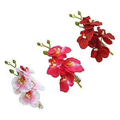 yueton Pack of 3 Women's Orchid Hair Clip Flower Hair Pin Bobby Pin Bridal Party Hair Decor Accessories