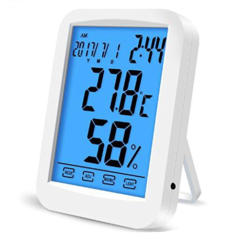 ZivaTech Digital Hygrometer Room Thermometer Gauge Smart Indoor Temperature Humidity Monitor with Touchscreen and Backlight by ZivaTech