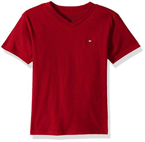 Tommy Hilfiger Big Boys' V Neck Solid Short Sleeve Tee, Regal Red, Small (Tommy Hilfiger Red Label)