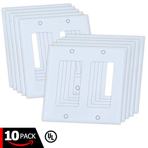 ESD Tech 10 Pack Wall Plate Covers for Light Switches and Outlets 2-Gang Standard Size Faceplate. Decora. Fits Paddle, Rocker, and Receptacles. Unbreakable, UL Listed