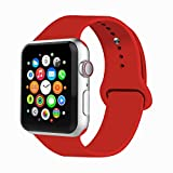 Toys : IYOU Sport Band Compatible with Watch Band 38MM 42MM 40MM 44MM, Soft Silicone Replacement Sport Strap Compatible with 2018 Watch Series 4/3/2/1 (Red,42MM, M/L)