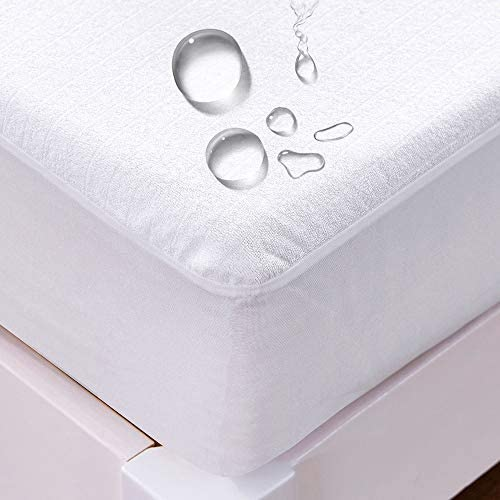 クモリ(Kumori) ボックスシーツ 防水タイプ マットレスに染み込まない アレルギー対策 タオル生地 ホワイト ダブル・140X200cm