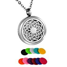 HooAMI Sunflower Aromatherapy Essential Oil Diffuser Necklace Pendant Locket Jewelry