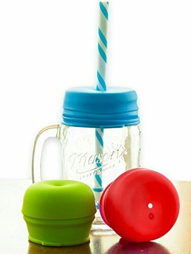 Any Drink - O-Sip! Silicone Straw Lids (Pack of 3), Fits Virtually any Cup or Glass Including Mason Jars, Makes Kids Drinks Spillproof, Reusable, Durable
