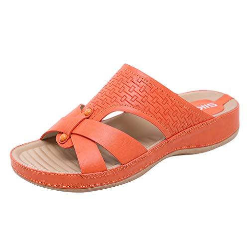 Hot!Ninasill Woman Bead Pattern Letter Printing Roman Sandals Flat Heel Soft Sole Pregnant Women Sandals Outdoor Slippers Orange