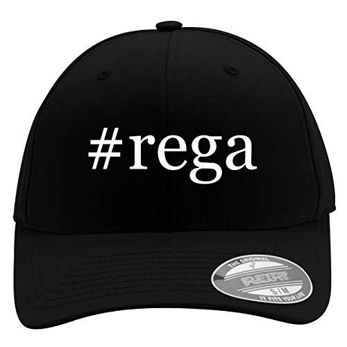 #rega - Men's Hashtag Flexfit Baseball Cap Hat, Black, Large/X-Large