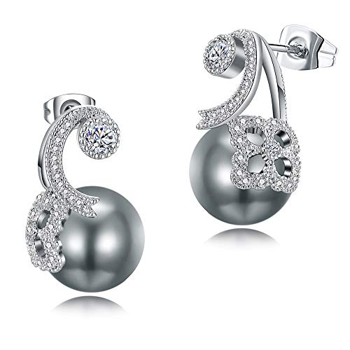 Crystal Dark Grey Pearl - Fashion drop earring best gift statement jewelry accessories pave clear crystal and simulated grey pearl earrings for women