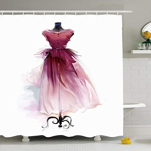 Ahawoso Shower Curtain 60x72 Inches Outfit Red Vintage Retro Dress On Gorgeous Dummy Watercolor Atelier Attractive Boutique Casual Waterproof Polyester Fabric Set with Hooks