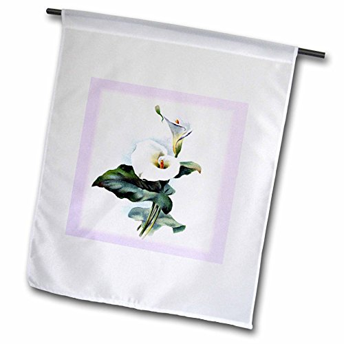 3dRose fl_48250_1 White Calla Lily with Violet Frame Garden Flag, 12 by 18-Inch