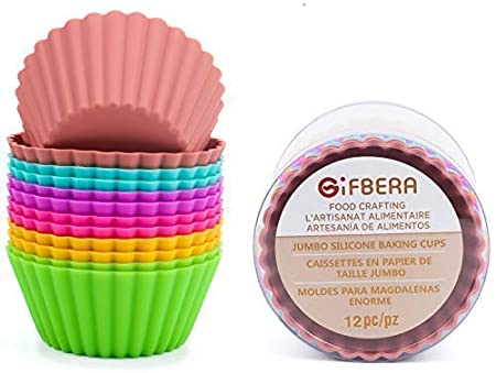 Amazon.com: Gifbera Large Reusable Silicone Cupcake Baking Cups Jumbo Muffin Molds, 6 Colors, Pack of 12: Kitchen & Dining